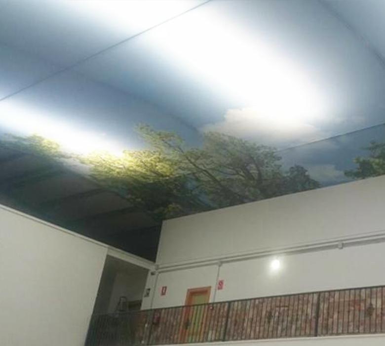 Colocación de la tela tensada impresa en el techo del Centro oficial de Grado Superior de Córdoba