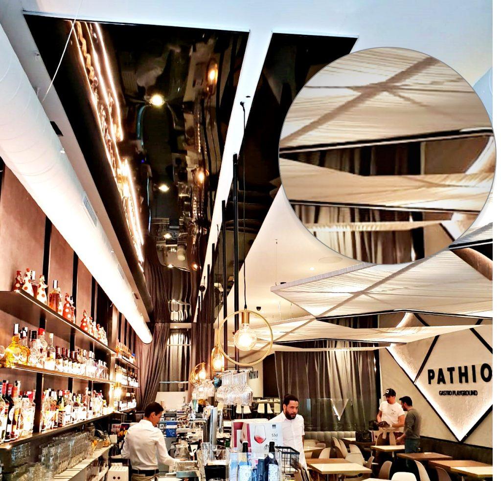 Barrisol Lacados en techo de restaurante Pathio