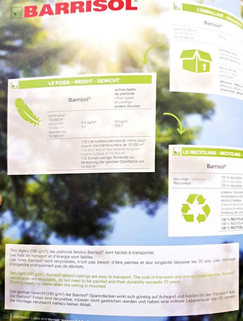 Hoja explicativa del manual Barrisol con características de Les Recilcles